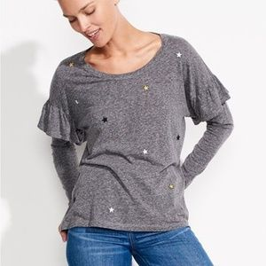 Sundry Star Patches Long Sleeve Ruffle Top